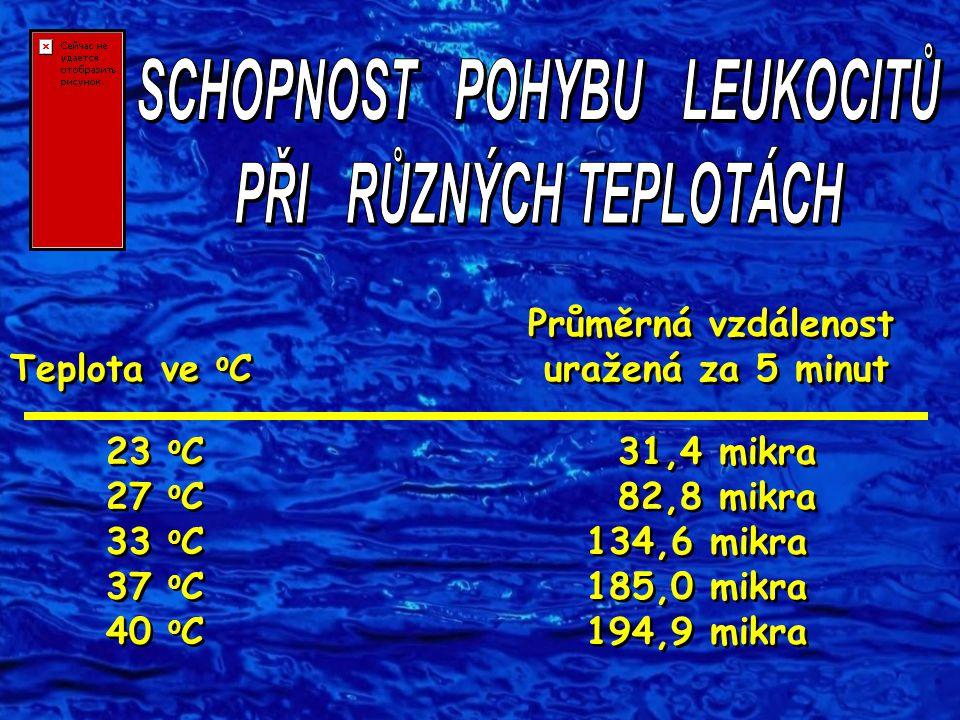 Průměrná vzdálenost Teplota ve o C uražená za 5 minut 23 o C 31,4 mikra 27 o C 82,8 mikra 33 o C 134,6 mikra 37 o C 185,0 mikra 40 o C 194,9 mikra Prů