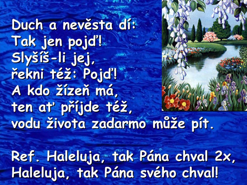 Duch a nevěsta dí: Tak jen pojď! Slyšíš-li jej, řekni též: Pojď! A kdo žízeň má, ten ať příjde též, vodu života zadarmo může pít. Ref. Haleluja, tak P