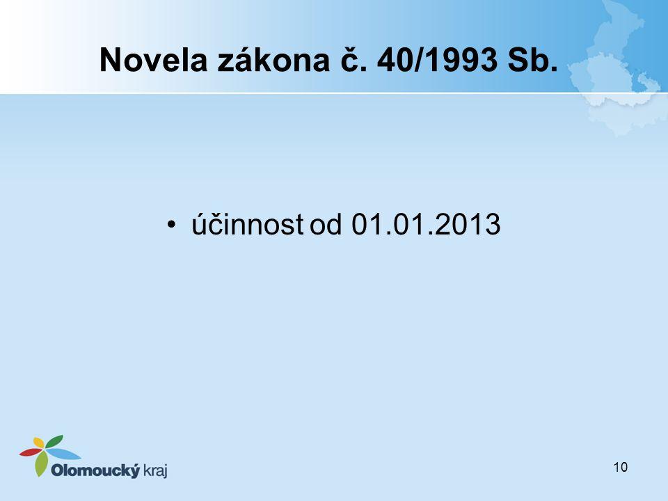 Novela zákona č. 40/1993 Sb. účinnost od 01.01.2013 10
