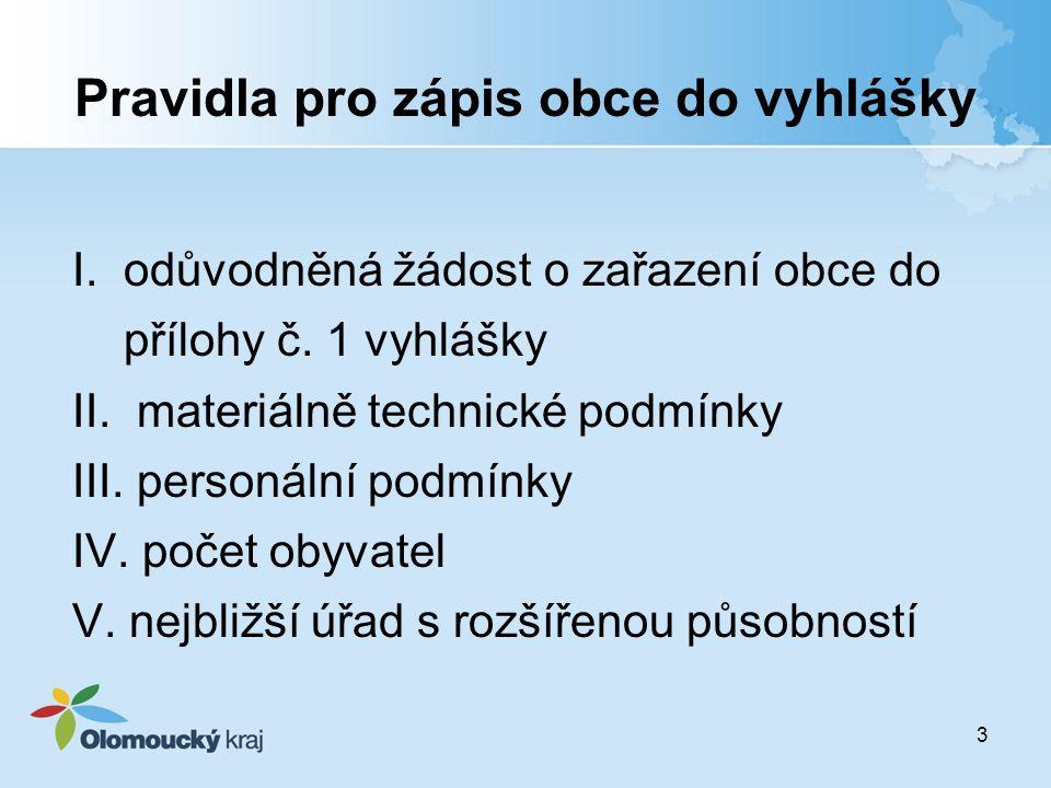 Pravidla pro zápis obce do vyhlášky I.odůvodněná žádost o zařazení obce do přílohy č.