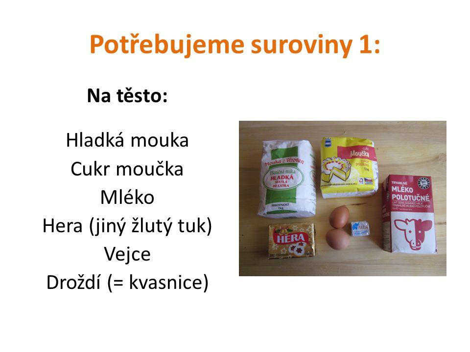 Potřebujeme suroviny 1: Na těsto: Hladká mouka Cukr moučka Mléko Hera (jiný žlutý tuk) Vejce Droždí (= kvasnice)