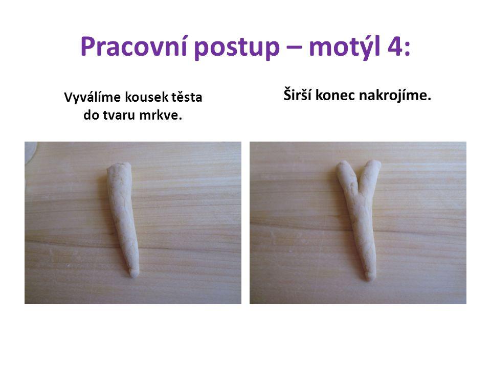 Pracovní postup – motýl 4: Vyválíme kousek těsta do tvaru mrkve. Širší konec nakrojíme.