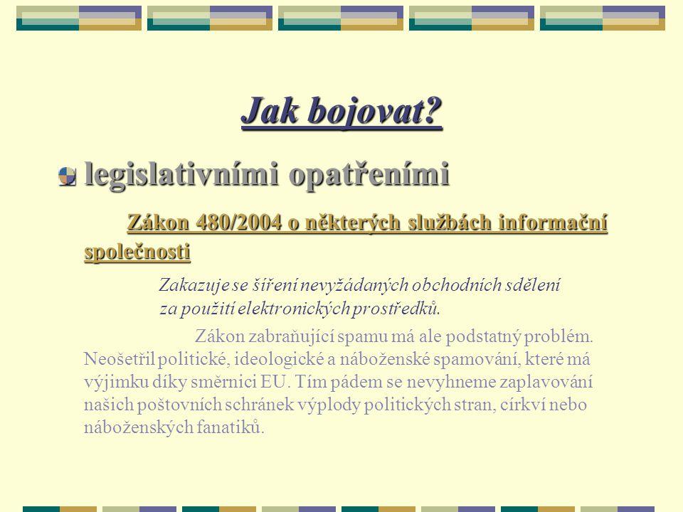 Jak bojovat? legislativními opatřeními Zákon 480/2004 o některých službách informační společnosti Zákon 480/2004 o některých službách informační spole