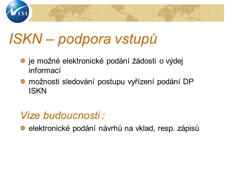 ISKN – podpora vstupů je možné elektronické podání žádosti o výdej informací možnosti sledování postupu vyřízení podání DP ISKN Vize budoucnosti : ele