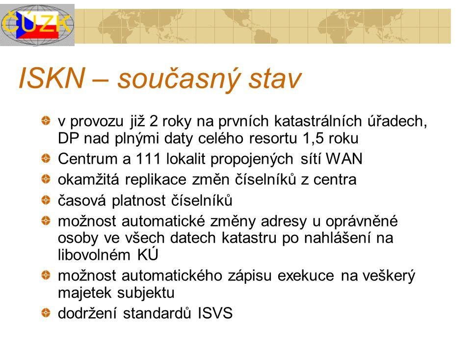 ISKN – současný stav v provozu již 2 roky na prvních katastrálních úřadech, DP nad plnými daty celého resortu 1,5 roku Centrum a 111 lokalit propojený