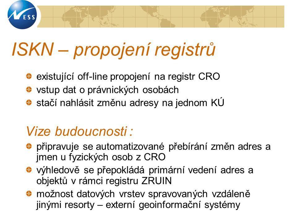 ISKN – propojení registrů existující off-line propojení na registr CRO vstup dat o právnických osobách stačí nahlásit změnu adresy na jednom KÚ Vize b