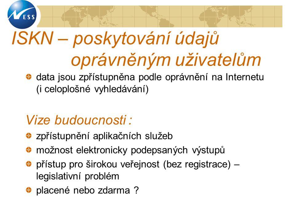 ISKN – poskytování údajů oprávněným uživatelům data jsou zpřístupněna podle oprávnění na Internetu (i celoplošné vyhledávání) Vize budoucnosti : zpřís