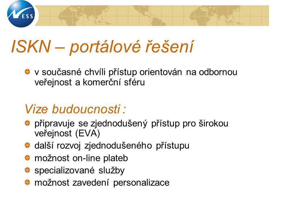 ISKN – portálové řešení v současné chvíli přístup orientován na odbornou veřejnost a komerční sféru Vize budoucnosti : připravuje se zjednodušený přís
