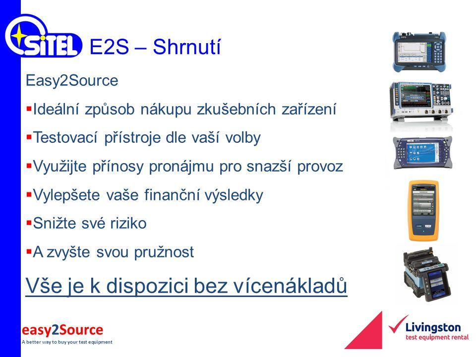 easy2Source A better way to buy your test equipment E2S – Shrnutí Easy2Source  Ideální způsob nákupu zkušebních zařízení  Testovací přístroje dle va