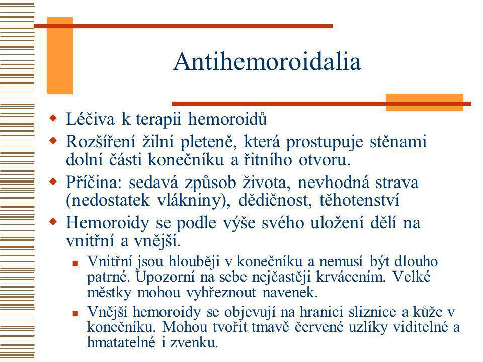 Antihemoroidalia  Léčiva k terapii hemoroidů  Rozšíření žilní pleteně, která prostupuje stěnami dolní části konečníku a řitního otvoru.  Příčina: s