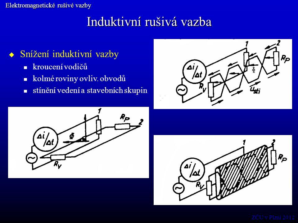 Induktivní rušivá vazba Elektromagnetické rušivé vazby  Snížení induktivní vazby kroucení vodičů kolmé roviny ovliv. obvodů stínění vedení a stavební