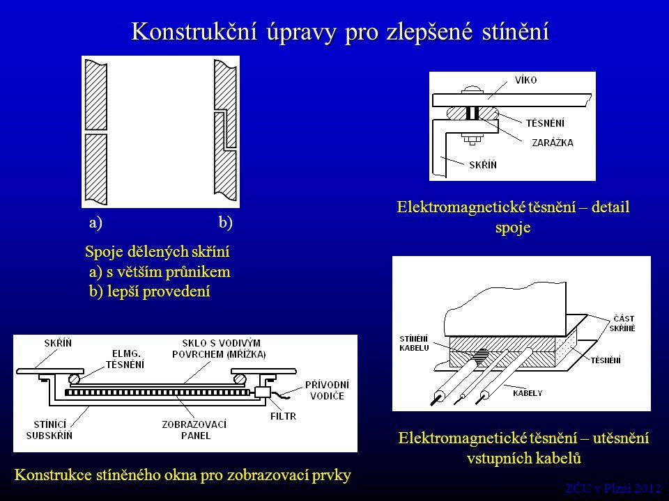Konstrukční úpravy pro zlepšené stínění Konstrukce stíněného okna pro zobrazovací prvky a) b) Spoje dělených skříní a) s větším průnikem b) lepší prov