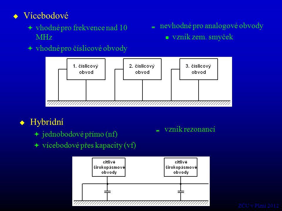  Vícebodové  vhodné pro frekvence nad 10 MHz  vhodné pro číslicové obvody  nevhodné pro analogové obvody vznik zem. smyček  Hybridní  jednobodov