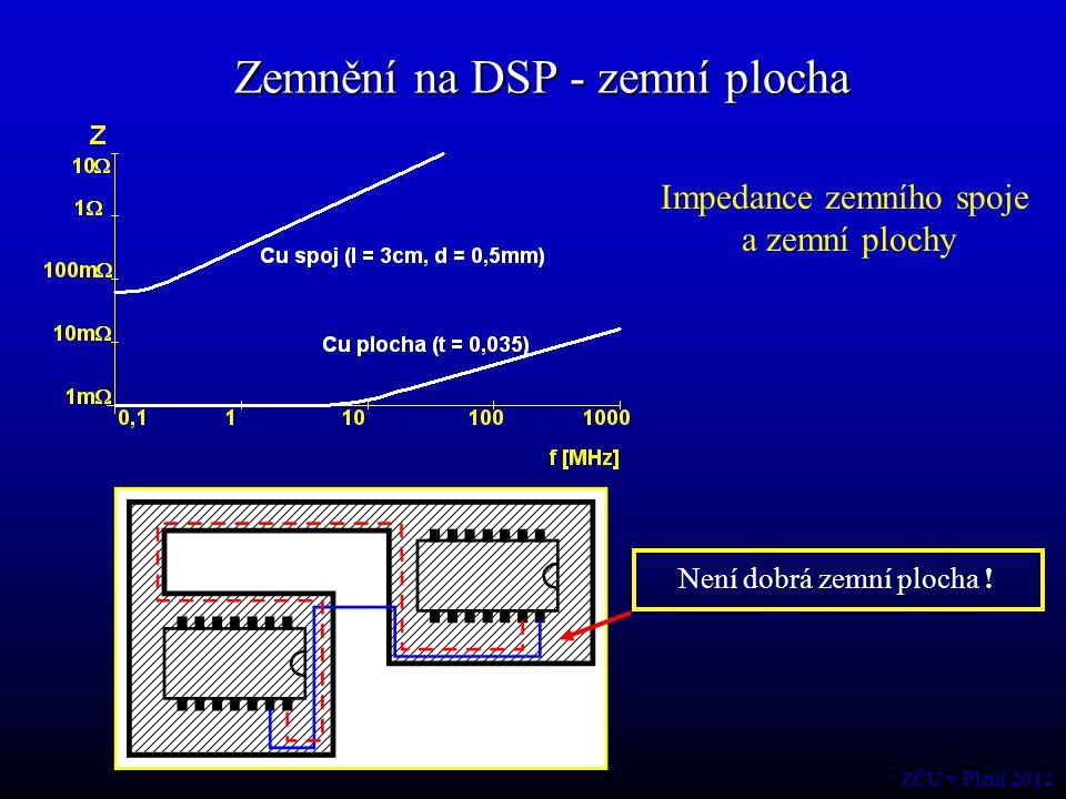 Zemnění na DSP - zemní plocha Impedance zemního spoje a zemní plochy Není dobrá zemní plocha ! ZČU v Plzni 2012