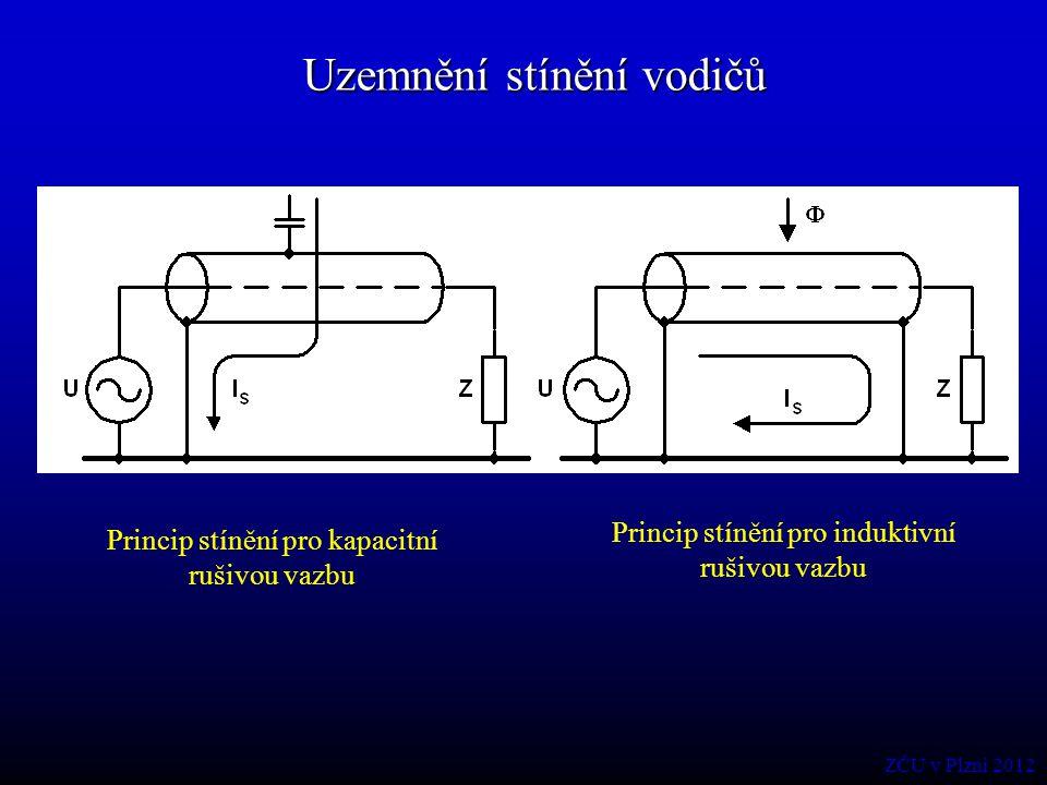 Uzemnění stínění vodičů Princip stínění pro kapacitní rušivou vazbu Princip stínění pro induktivní rušivou vazbu ZČU v Plzni 2012