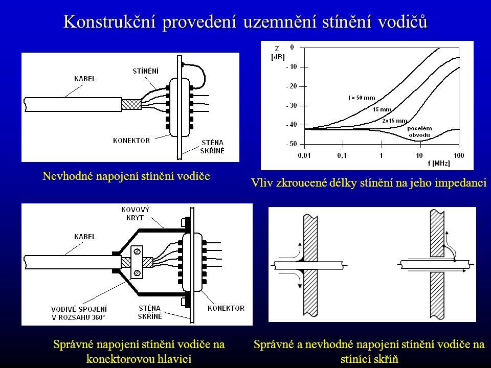 Konstrukční provedení uzemnění stínění vodičů Nevhodné napojení stínění vodiče Vliv zkroucené délky stínění na jeho impedanci Správné napojení stínění