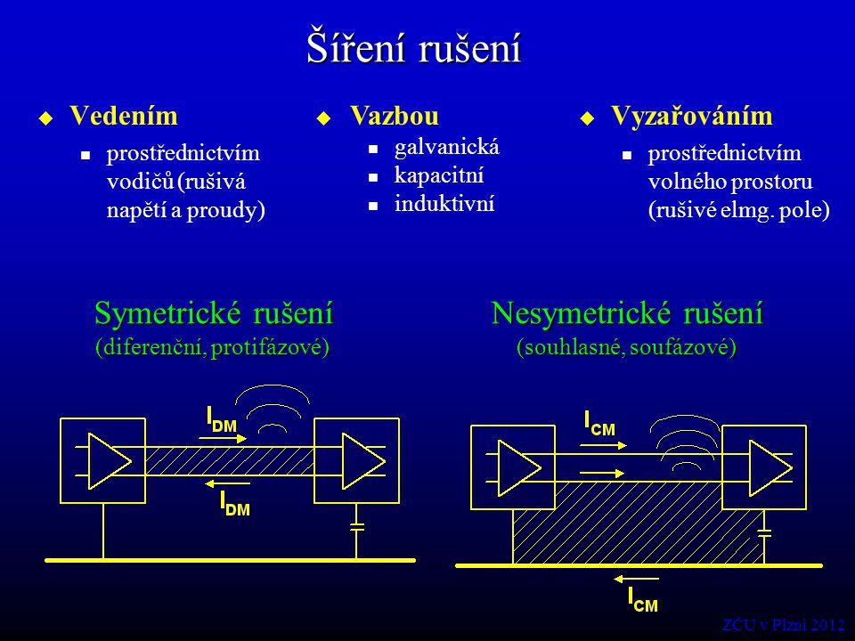 Šíření rušení  Vedením prostřednictvím vodičů (rušivá napětí a proudy)  Vyzařováním prostřednictvím volného prostoru (rušivé elmg. pole) Symetrické