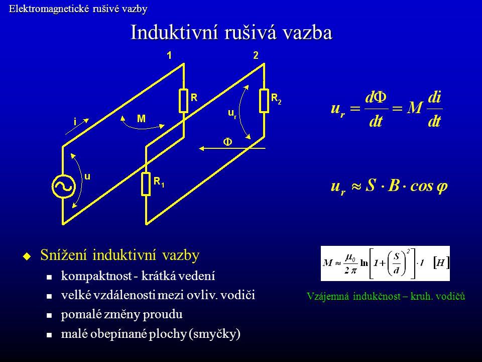 Induktivní rušivá vazba Elektromagnetické rušivé vazby  Snížení induktivní vazby kroucení vodičů kolmé roviny ovliv.