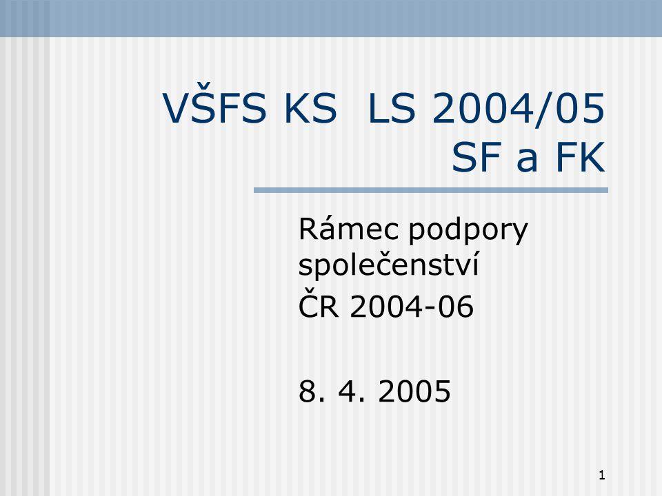 1 VŠFS KS LS 2004/05 SF a FK Rámec podpory společenství ČR 2004-06 8. 4. 2005