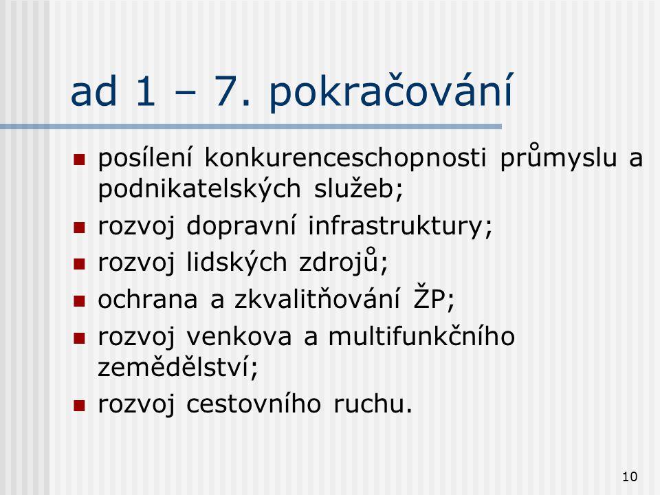 10 ad 1 – 7. pokračování posílení konkurenceschopnosti průmyslu a podnikatelských služeb; rozvoj dopravní infrastruktury; rozvoj lidských zdrojů; ochr