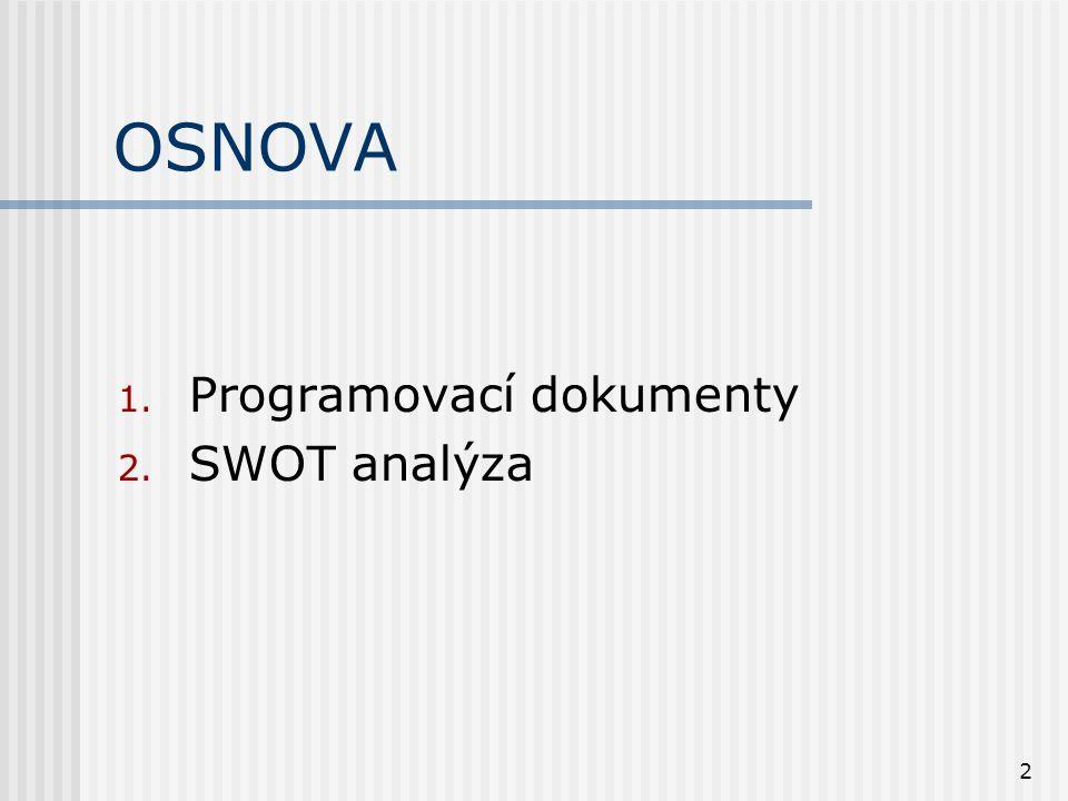 2 OSNOVA 1. Programovací dokumenty 2. SWOT analýza