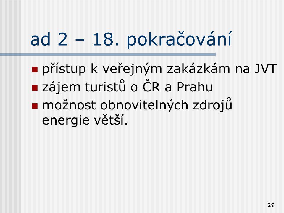 29 ad 2 – 18. pokračování přístup k veřejným zakázkám na JVT zájem turistů o ČR a Prahu možnost obnovitelných zdrojů energie větší.