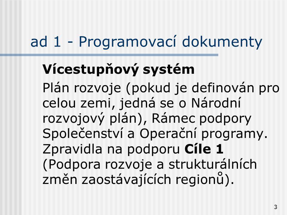 3 ad 1 - Programovací dokumenty Vícestupňový systém Plán rozvoje (pokud je definován pro celou zemi, jedná se o Národní rozvojový plán), Rámec podpory