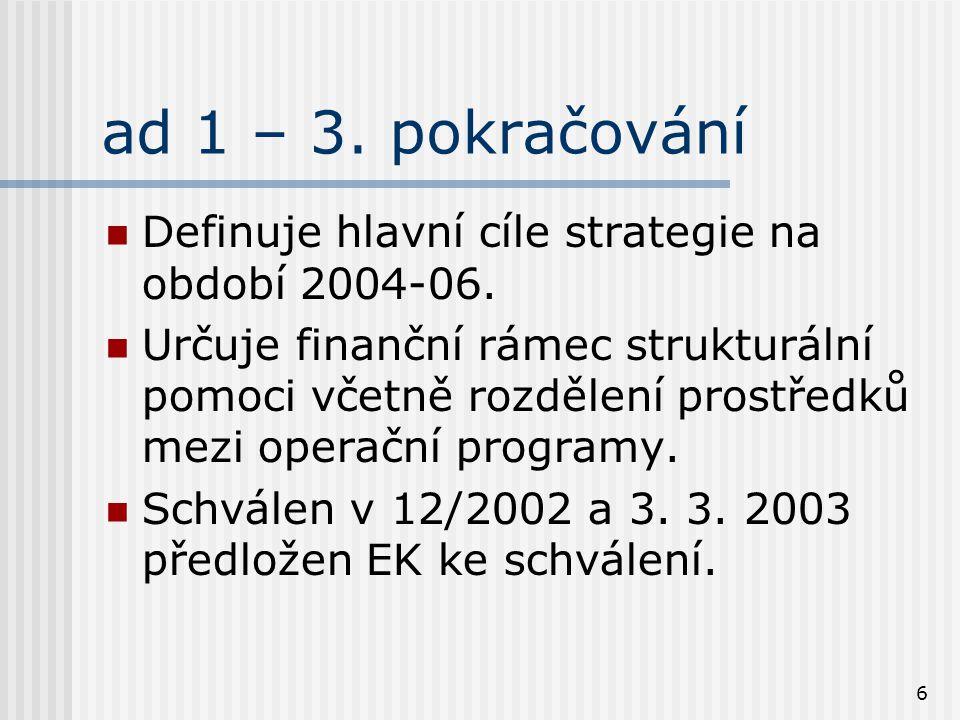 6 ad 1 – 3. pokračování Definuje hlavní cíle strategie na období 2004-06. Určuje finanční rámec strukturální pomoci včetně rozdělení prostředků mezi o