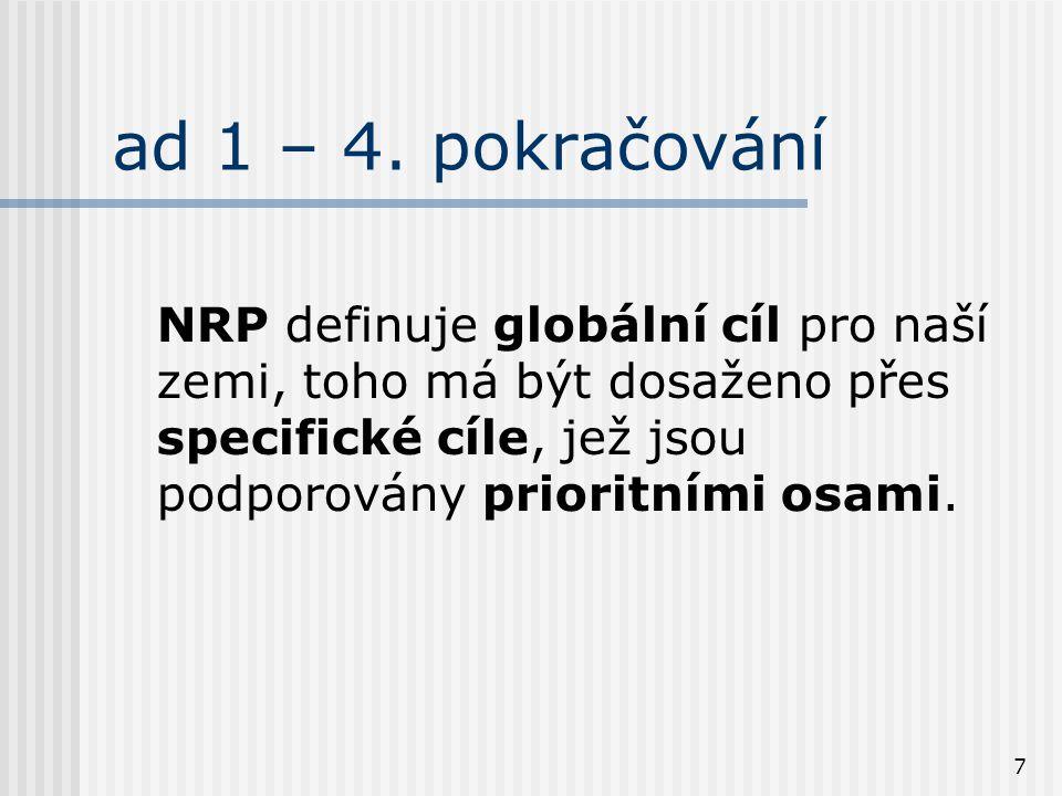 7 ad 1 – 4. pokračování NRP definuje globální cíl pro naší zemi, toho má být dosaženo přes specifické cíle, jež jsou podporovány prioritními osami.