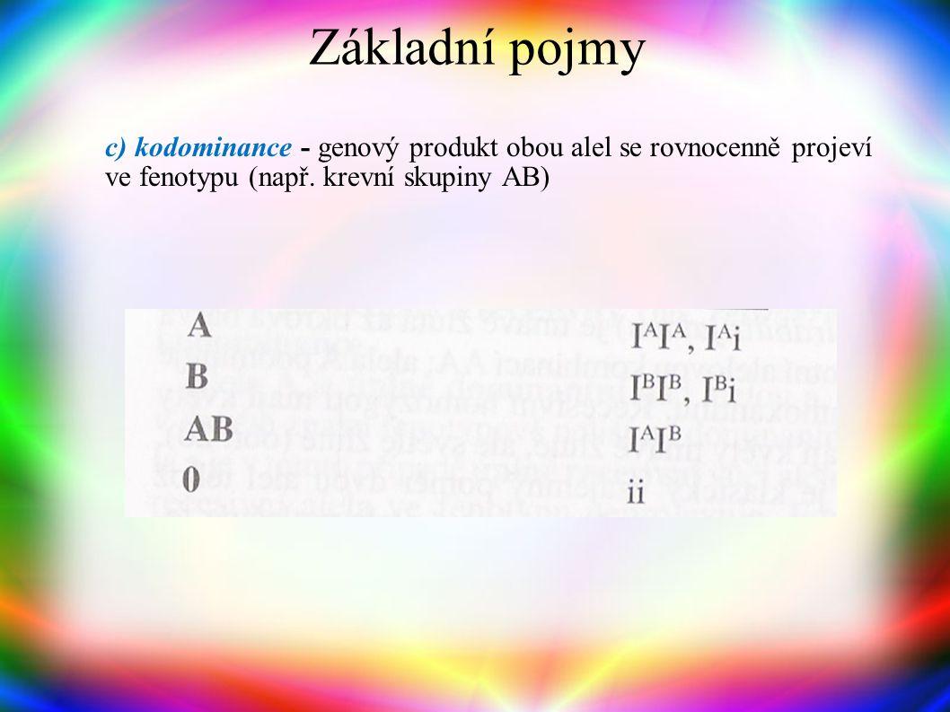 Základní pojmy c) kodominance - genový produkt obou alel se rovnocenně projeví ve fenotypu (např.