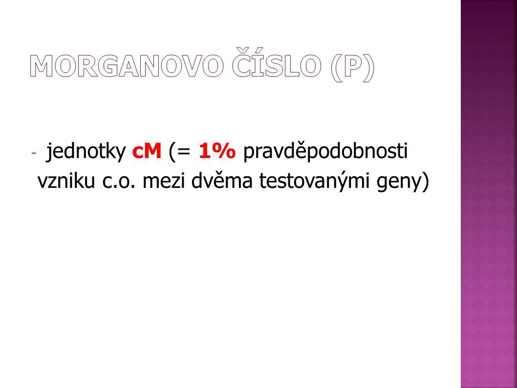- jednotky cM (= 1% pravděpodobnosti vzniku c.o. mezi dvěma testovanými geny)
