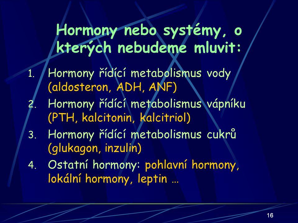 16 Hormony nebo systémy, o kterých nebudeme mluvit: 1.