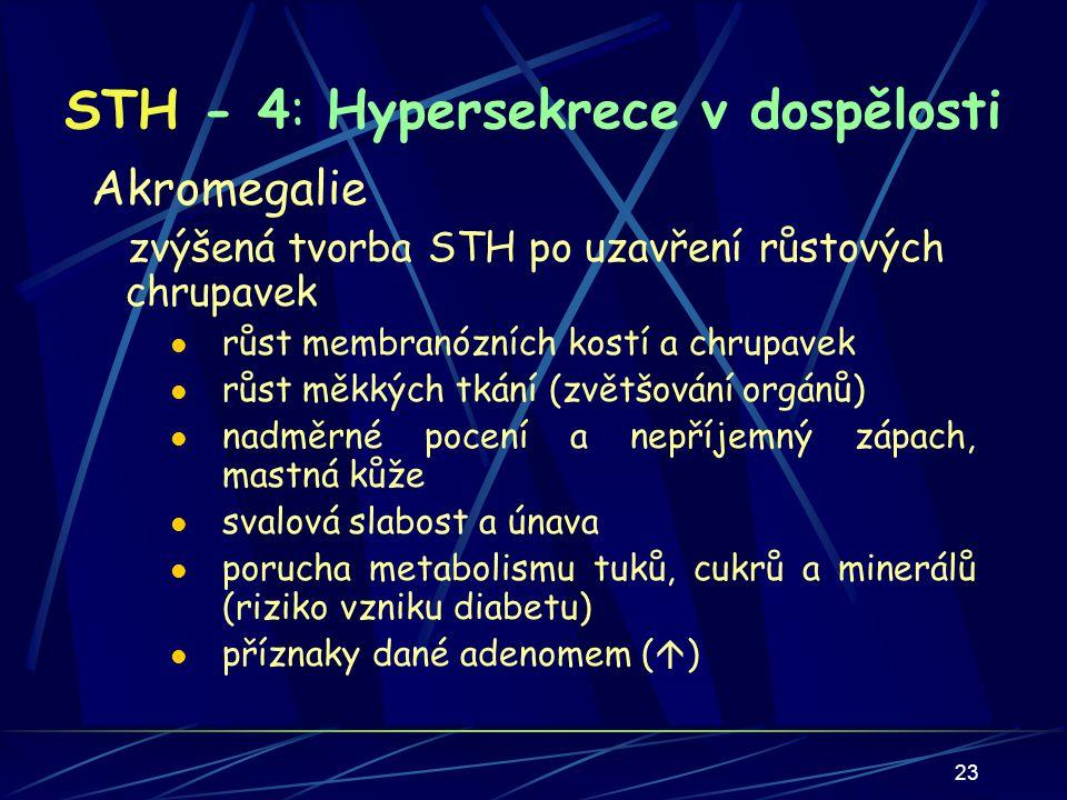 23 STH - 4: Hypersekrece v dospělosti Akromegalie zvýšená tvorba STH po uzavření růstových chrupavek růst membranózních kostí a chrupavek růst měkkých tkání (zvětšování orgánů) nadměrné pocení a nepříjemný zápach, mastná kůže svalová slabost a únava porucha metabolismu tuků, cukrů a minerálů (riziko vzniku diabetu) příznaky dané adenomem (  )
