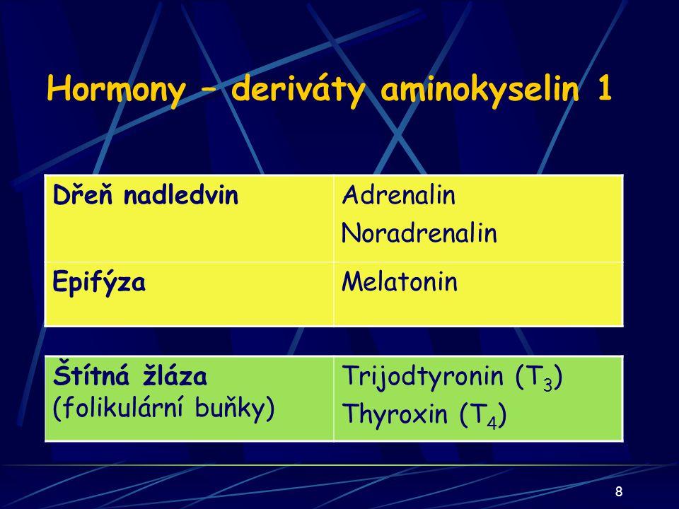 39 Štítná žláza: T3,T4 - 1: Charakteristika deriváty aminokyselin s navázaným jodem sekrece na podnět TSH (TRH) a v chladu, snižuje se při stresu cílová tkáň: všechny buňky těla kromě sítnice, testes