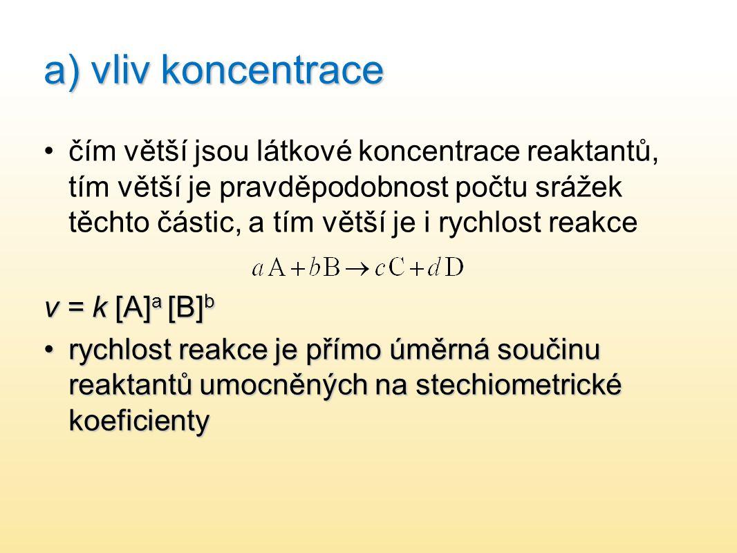 a) vliv koncentrace čím větší jsou látkové koncentrace reaktantů, tím větší je pravděpodobnost počtu srážek těchto částic, a tím větší je i rychlost r