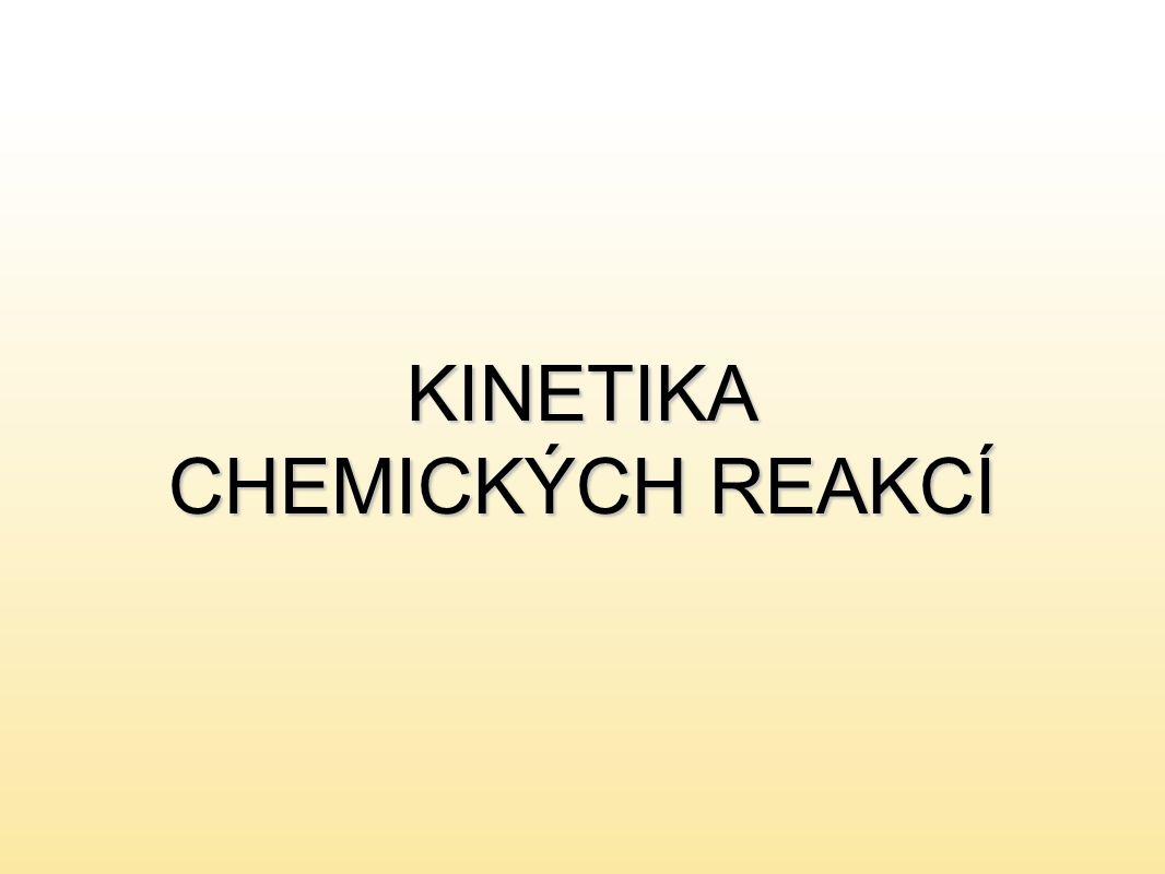 Reakční kinetika zabývá se studiem průběhu chemických reakcízabývá se studiem průběhu chemických reakcí sleduje reakční rychlost a její závislost na faktorech, které reakční rychlost ovlivňujísleduje reakční rychlost a její závislost na faktorech, které reakční rychlost ovlivňují aby došlo k chemické reakci musí mezi reaktanty dojít k účinným (efektivním) srážkámaby došlo k chemické reakci musí mezi reaktanty dojít k účinným (efektivním) srážkám