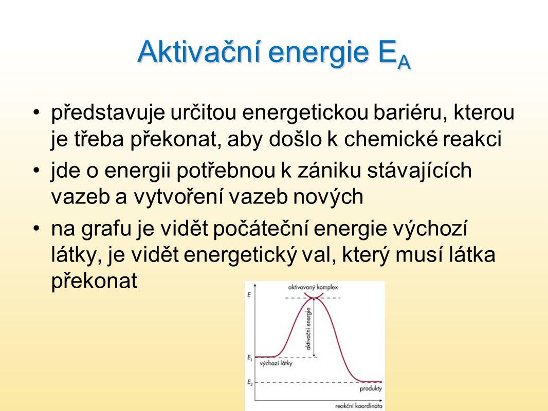 Aktivační energie E A představuje určitou energetickou bariéru, kterou je třeba překonat, aby došlo k chemické reakci jde o energii potřebnou k zániku