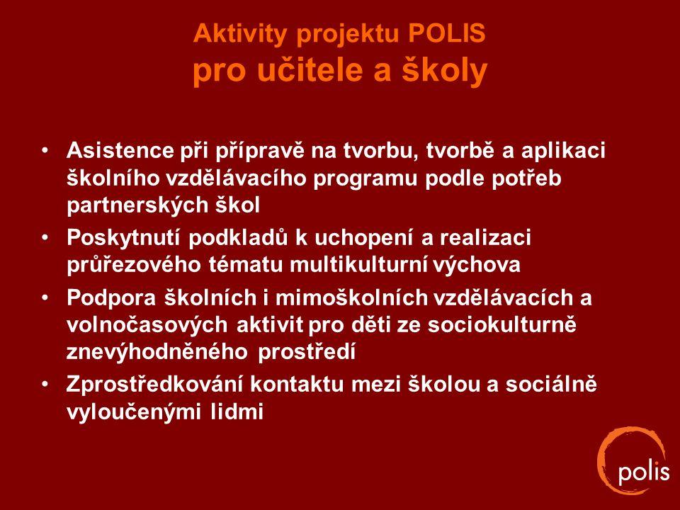 Aktivity projektu POLIS pro učitele a školy Asistence při přípravě na tvorbu, tvorbě a aplikaci školního vzdělávacího programu podle potřeb partnerský
