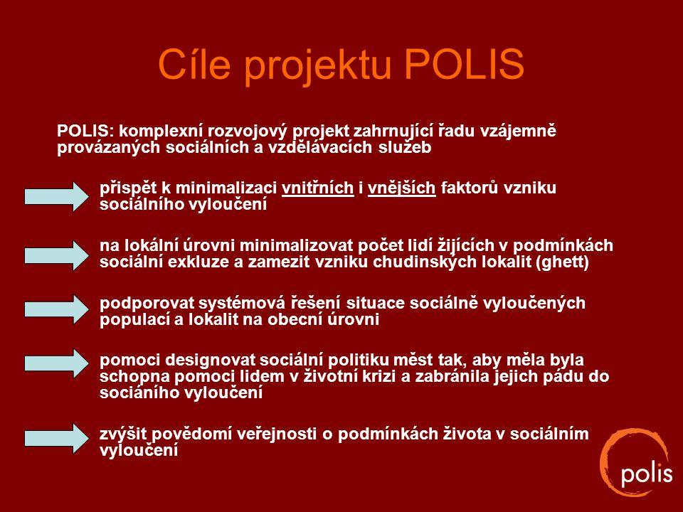 Cíle projektu POLIS POLIS: komplexní rozvojový projekt zahrnující řadu vzájemně provázaných sociálních a vzdělávacích služeb přispět k minimalizaci vn