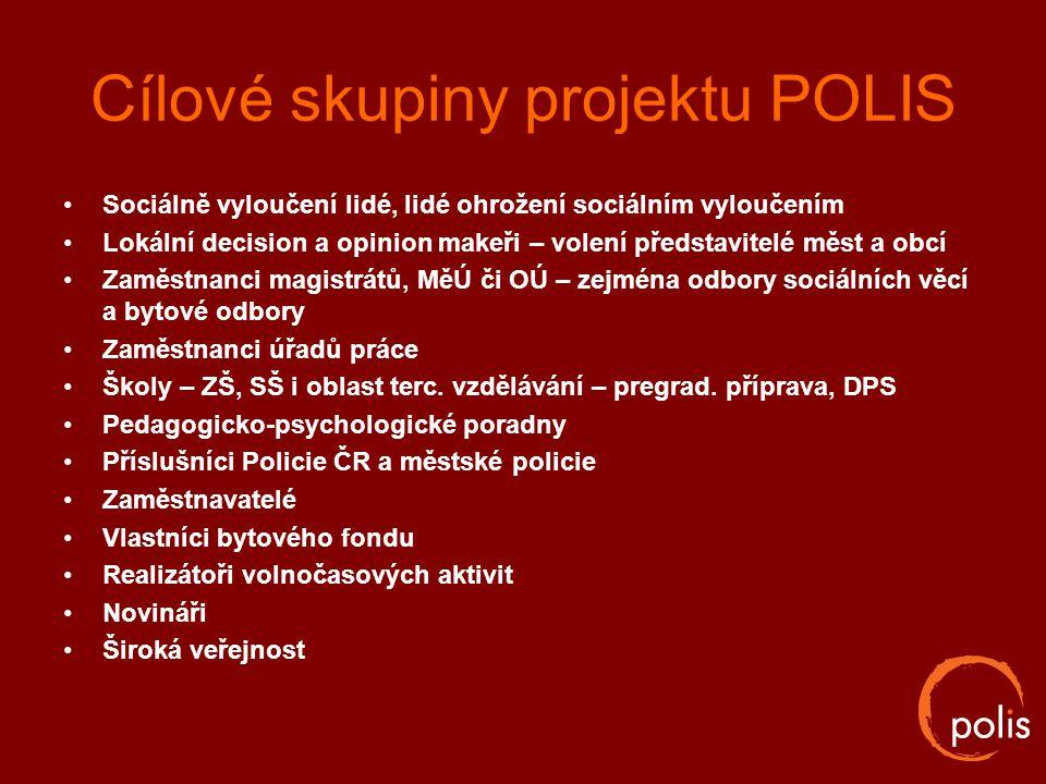 Cílové skupiny projektu POLIS Sociálně vyloučení lidé, lidé ohrožení sociálním vyloučením Lokální decision a opinion makeři – volení představitelé měs