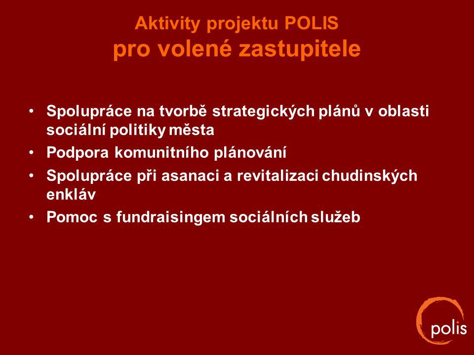 Aktivity projektu POLIS pro volené zastupitele Spolupráce na tvorbě strategických plánů v oblasti sociální politiky města Podpora komunitního plánován
