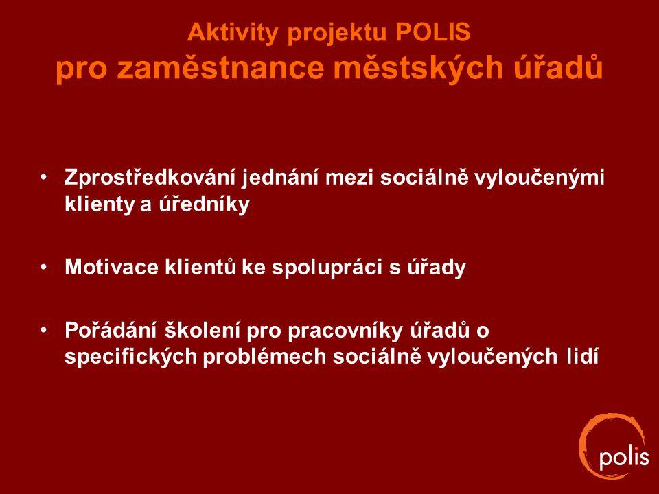 Aktivity projektu POLIS pro zaměstnance městských úřadů Zprostředkování jednání mezi sociálně vyloučenými klienty a úředníky Motivace klientů ke spolu