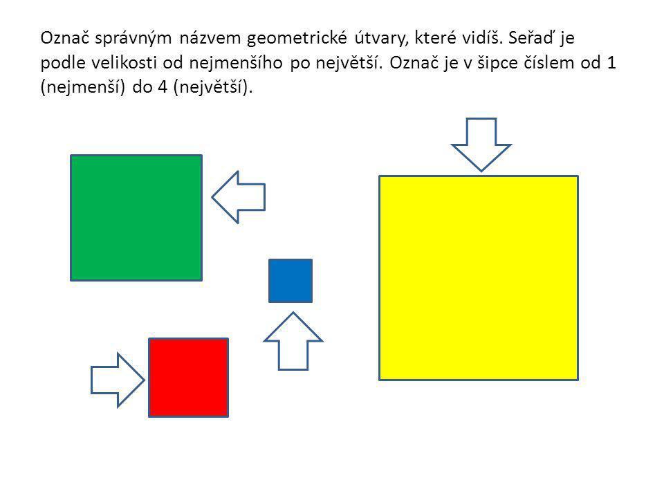Označ správným názvem geometrické útvary, které vidíš. Seřaď je podle velikosti od nejmenšího po největší. Označ je v šipce číslem od 1 (nejmenší) do