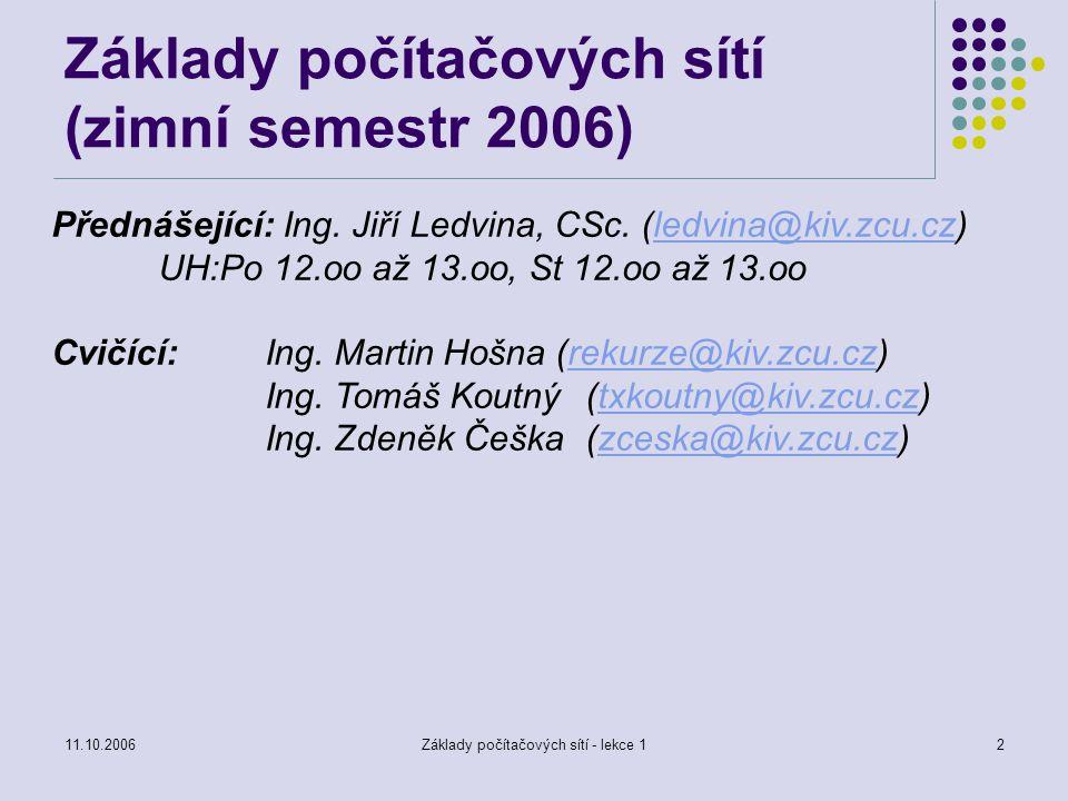 11.10.2006Základy počítačových sítí - lekce 13 Literatura: Wimmer, M.: Internet a jeho služby, ZČU Plzeň 1999 Antoš, M.: Připojte se k Internetu, Computer Press 1996 Bárta a kol.: WWW – multimediální prostředek Internetu, UNIS Publishing1996 http://www.kiv.zcu.cz/studies/predmety/zps/ http://portal.zcu.cz https://portal.zcu.cz/wps/myportal/predmety/kiv/zps Literatura