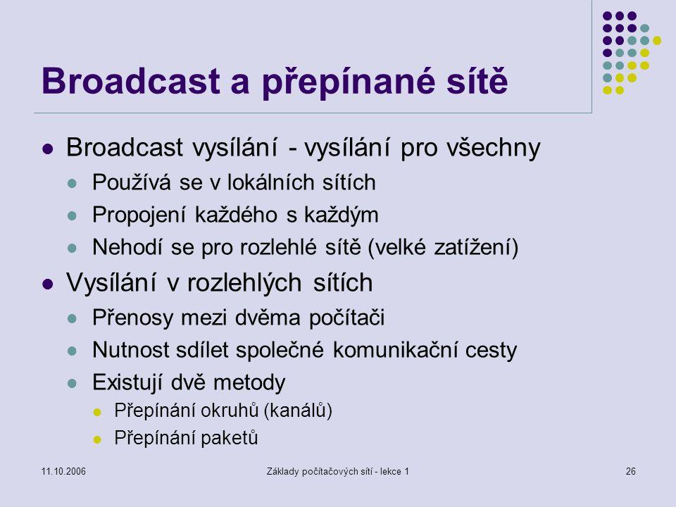 11.10.2006Základy počítačových sítí - lekce 126 Broadcast a přepínané sítě Broadcast vysílání - vysílání pro všechny Používá se v lokálních sítích Propojení každého s každým Nehodí se pro rozlehlé sítě (velké zatížení) Vysílání v rozlehlých sítích Přenosy mezi dvěma počítači Nutnost sdílet společné komunikační cesty Existují dvě metody Přepínání okruhů (kanálů) Přepínání paketů