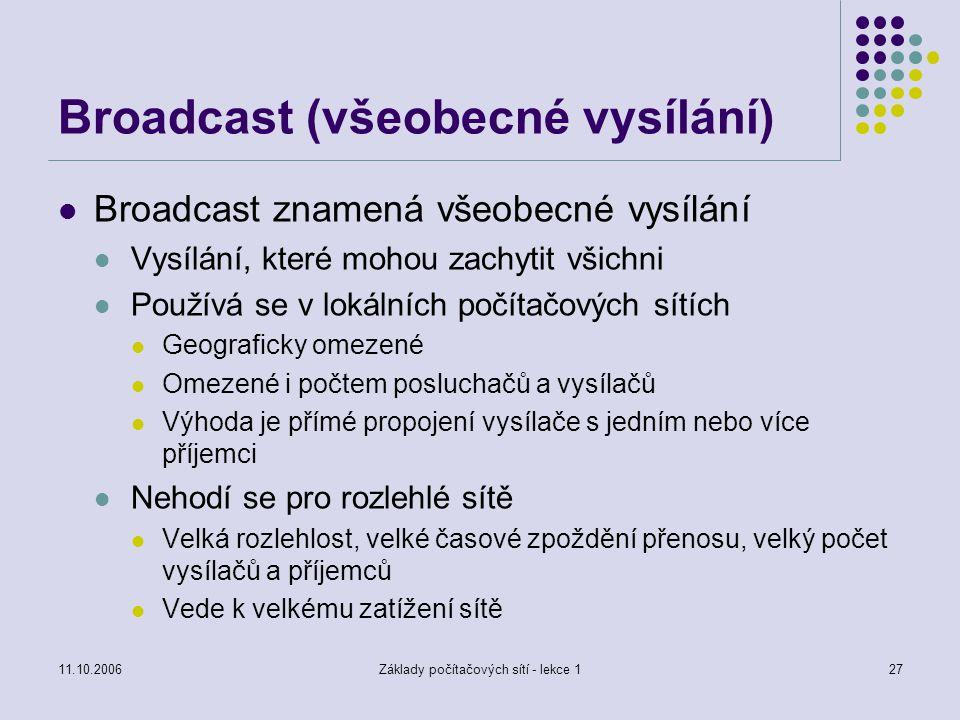 11.10.2006Základy počítačových sítí - lekce 127 Broadcast (všeobecné vysílání) Broadcast znamená všeobecné vysílání Vysílání, které mohou zachytit všichni Používá se v lokálních počítačových sítích Geograficky omezené Omezené i počtem posluchačů a vysílačů Výhoda je přímé propojení vysílače s jedním nebo více příjemci Nehodí se pro rozlehlé sítě Velká rozlehlost, velké časové zpoždění přenosu, velký počet vysílačů a příjemců Vede k velkému zatížení sítě