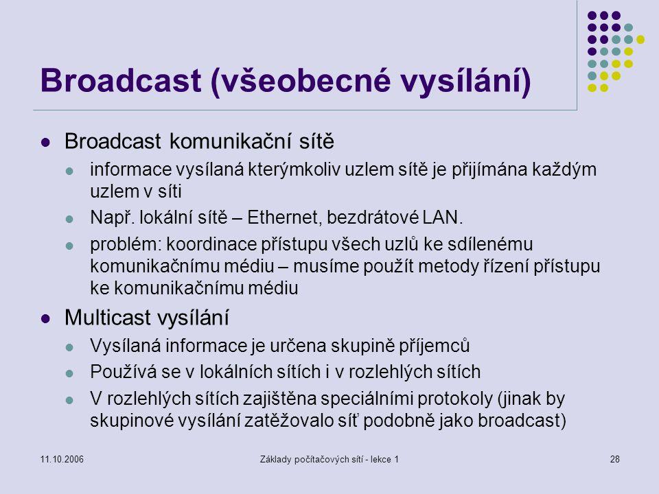 11.10.2006Základy počítačových sítí - lekce 128 Broadcast (všeobecné vysílání) Broadcast komunikační sítě informace vysílaná kterýmkoliv uzlem sítě je přijímána každým uzlem v síti Např.