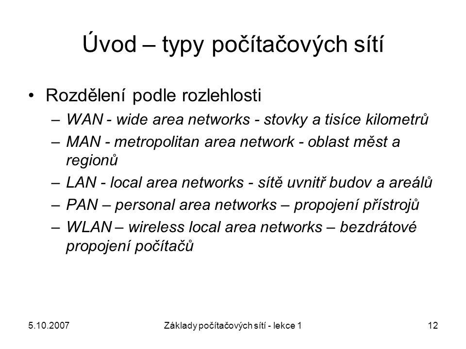 5.10.2007Základy počítačových sítí - lekce 112 Úvod – typy počítačových sítí Rozdělení podle rozlehlosti –WAN - wide area networks - stovky a tisíce k
