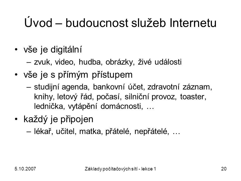 5.10.2007Základy počítačových sítí - lekce 120 Úvod – budoucnost služeb Internetu vše je digitální –zvuk, video, hudba, obrázky, živé události vše je