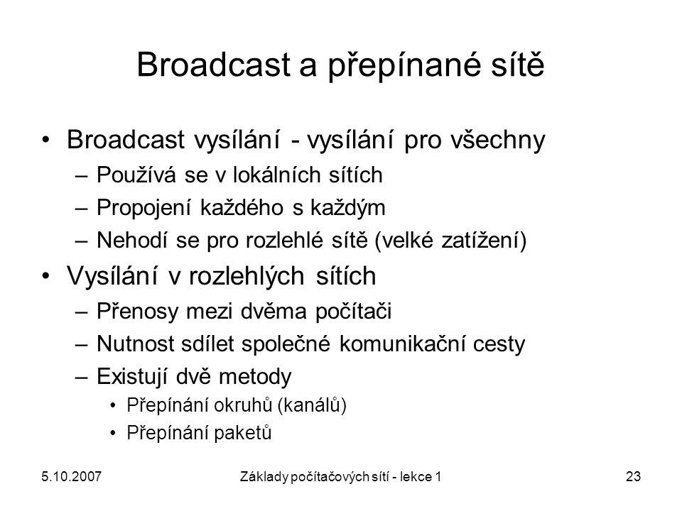 5.10.2007Základy počítačových sítí - lekce 123 Broadcast a přepínané sítě Broadcast vysílání - vysílání pro všechny –Používá se v lokálních sítích –Pr